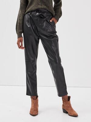 Pantalon paperbag ceinture noir femme