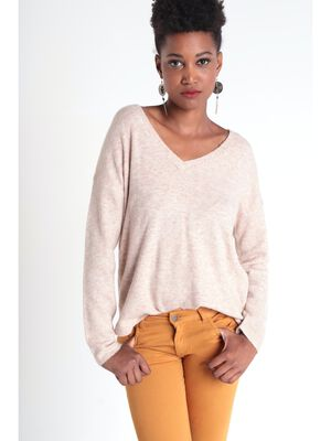 Pull manches longues maille beige femme