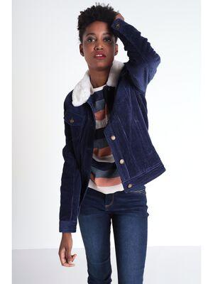 Veste droite velours cotele bleu marine femme