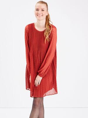 Robe evasee plissee orange fonce femme