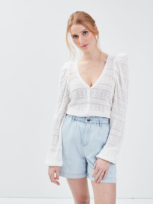 Short slouchy eco responsable denim bleach femme
