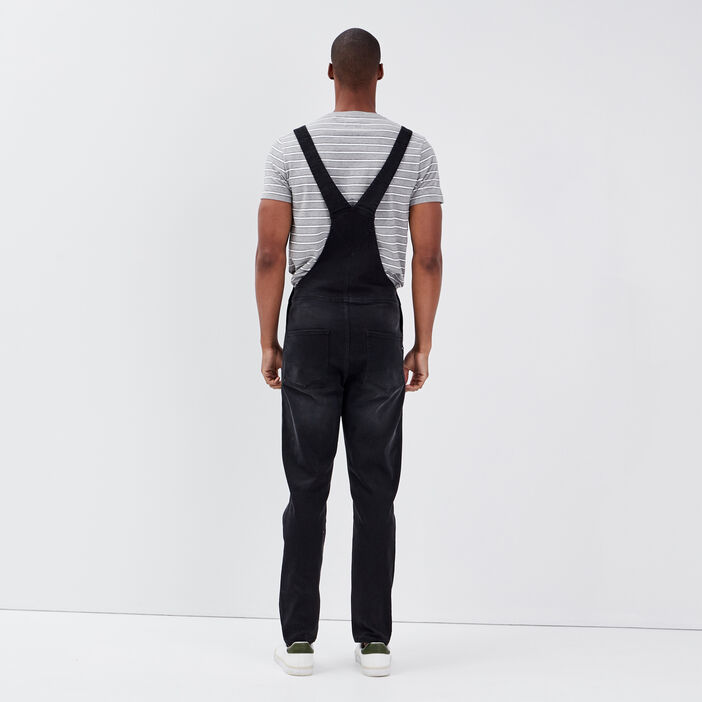 Salopette droite en jean denim noir homme