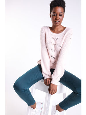 Pull col rond maille ajouree rose clair femme