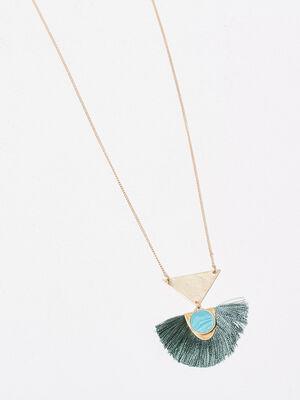 Collier pendentif a franges couleur or femme