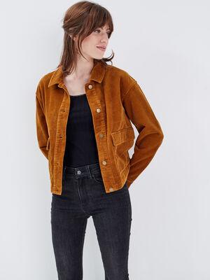 Veste droite velours cotele marron cognac femme
