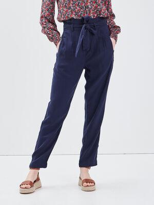 Pantalon eco responsable bleu marine femme