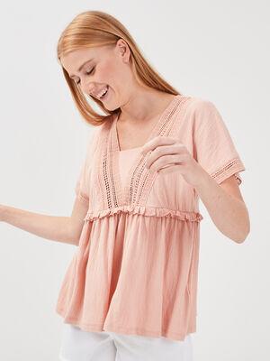 T shirt eco responsable vieux rose femme