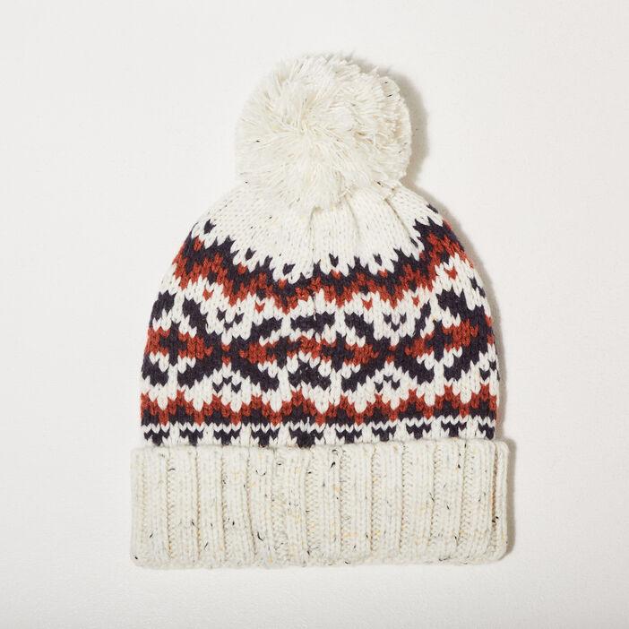 Bonnet tricoté à pompon ecru homme