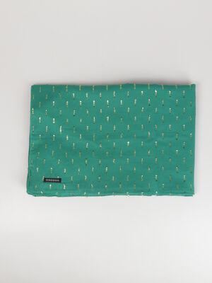 Foulard fin details metallises vert turquoise femme