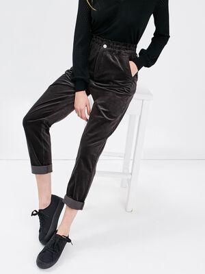 Pantalon boyfriend velours gris fonce femme