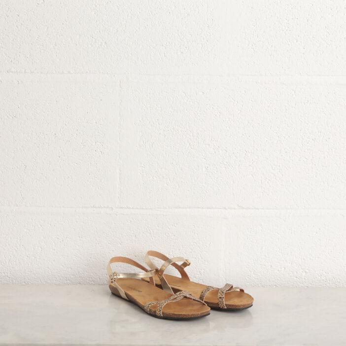 Sandales plates brides fines marron cognac femme