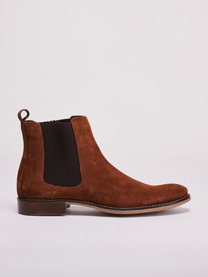 Bottines chelsea en cuir marron homme