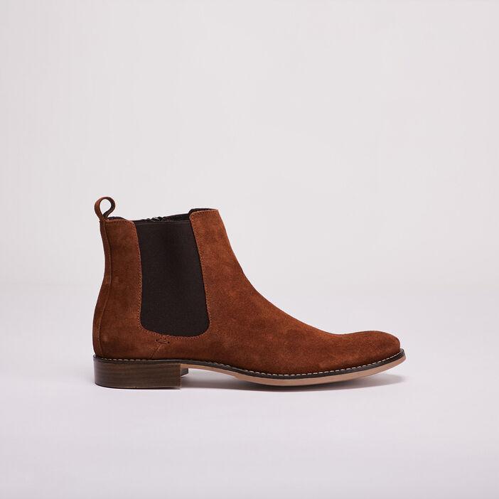 Bottines chelsea en cuir marron homme