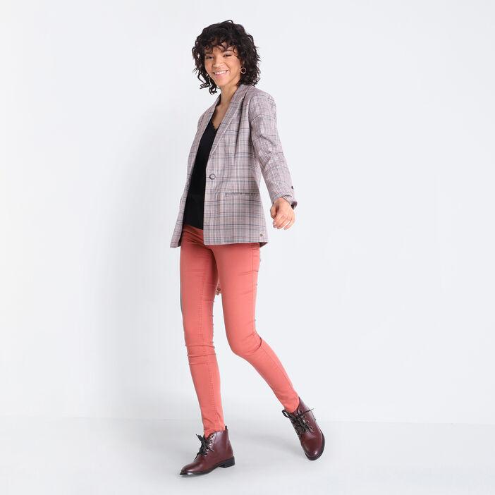 Pantalon skinny push up vieux rose femme