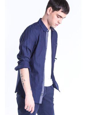 chemise homme a mini motifs bleu fonce