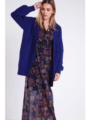 Cardigan long en maille unie bleu electrique femme
