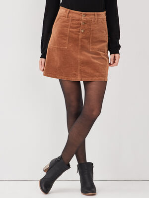 Jupe droite velours cotele marron femme