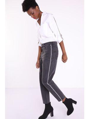 Jeans mom used avec bandes denim gris femme