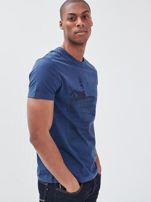 T shirt manches courtes bleu fonce homme