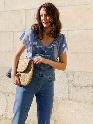 Salopette en jean destroy denim used femme