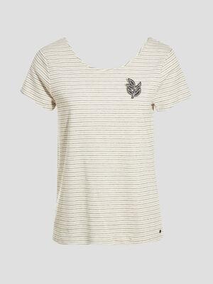 T shirt manches courtes broche ecru femme