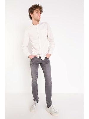 Jeans skinny used L32 denim snow gris homme