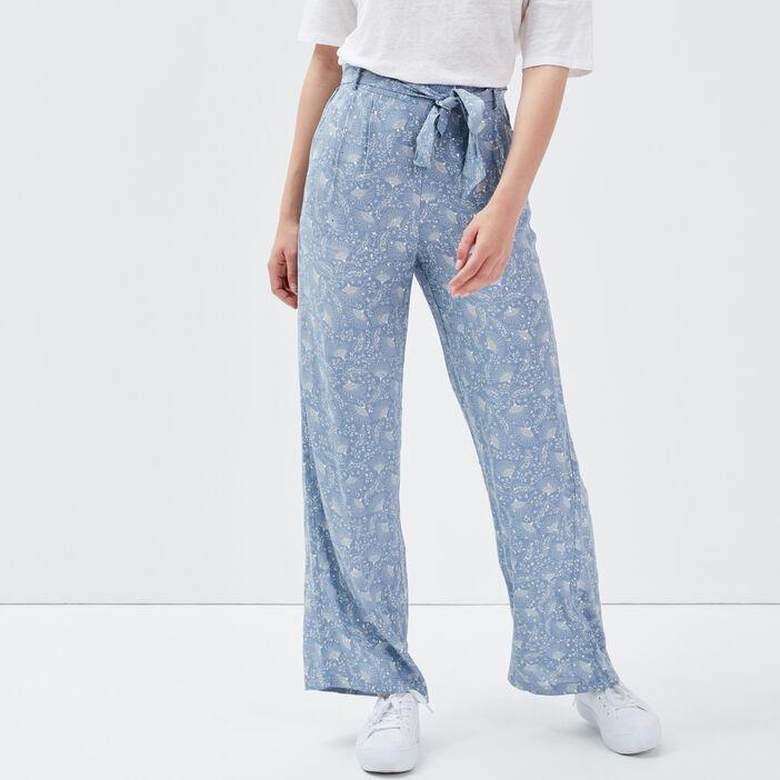Pantalon large ceinturé bleu gris femme