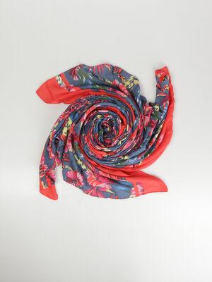 Foulard imprime bleu canard femme