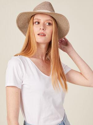 Chapeau de paille ecru femme