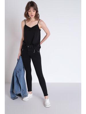 Jeans skinny poches zippees denim noir femme