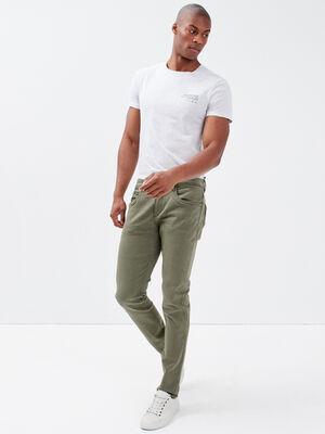 Pantalon slim 5 poches vert kaki homme