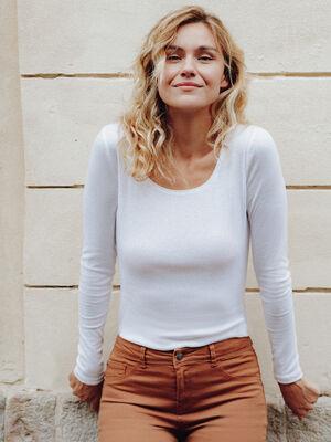 T shirt maille unie Instinct blanc femme
