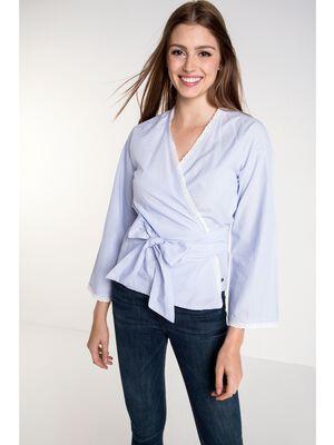 chemise col croise femme esprit kimono bleu clair