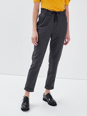 Pantalon carotte taille haute gris fonce femme