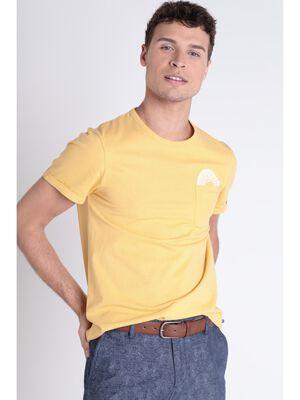 T shirt detail poche jaune moutarde homme