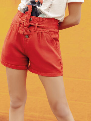 Short large a ceinture nouee orange fonce femme