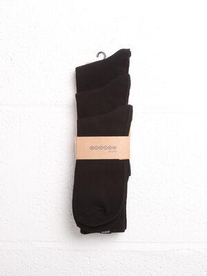 Lot 3 paires de chaussettes unies noir homme