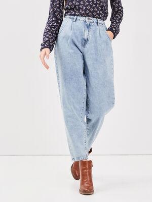 Jeans slouchy taille haute denim bleach femme