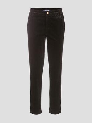 Pantalon chino velours cotele noir femme