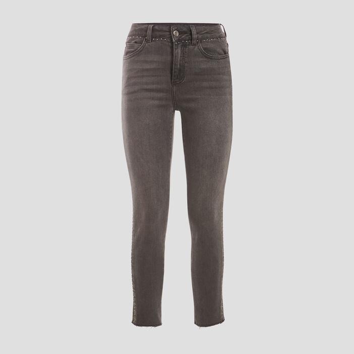 Jeans skinny 7/8ème denim gris femme