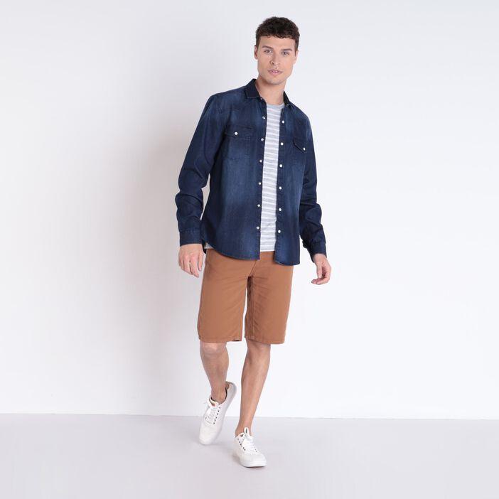 Chemise manches longues jean denim brut homme