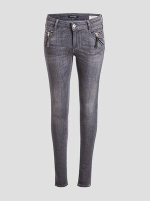 Jeans skinny details pampilles denim gris femme
