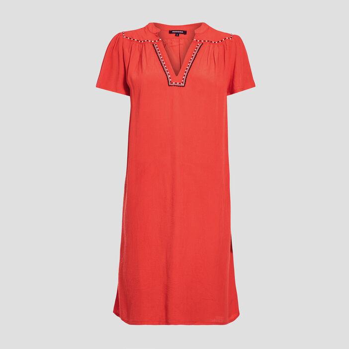 Robe droite détail contrastant rouge femme