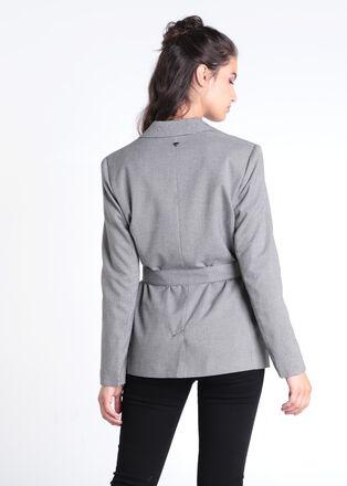 Veste cintree ceinturee noir femme