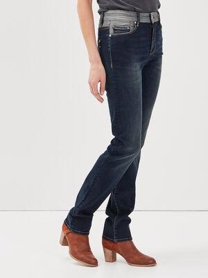 Jeans regular detail taille denim brut femme
