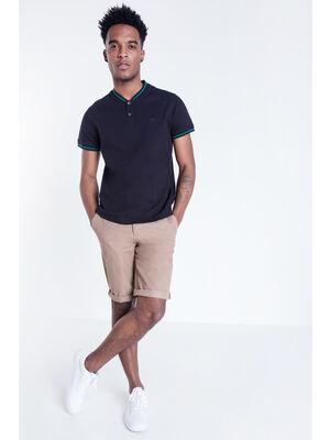 Bermuda chino droit coton marron clair homme