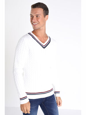 Pull manches longues torsade blanc homme