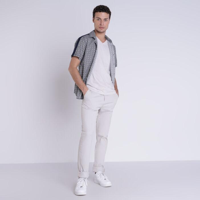 Pantalon straight Instinct chino ajusté gris clair homme