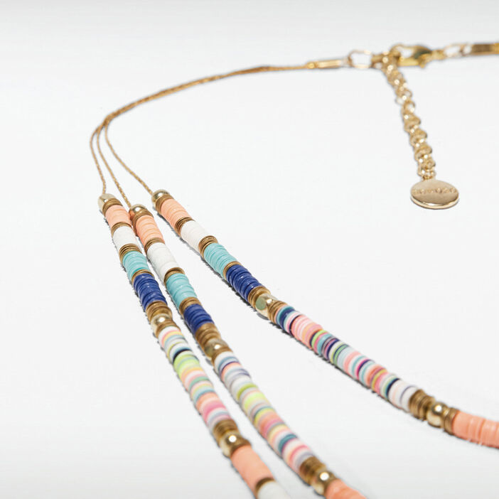 Collier multirangs avec perles couleur or femme