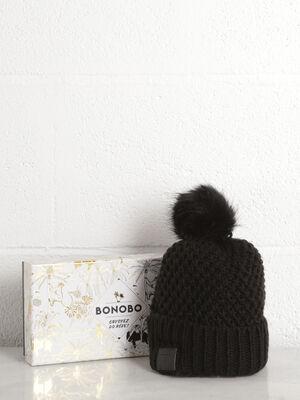 Bonnet maille metallisee noir femme